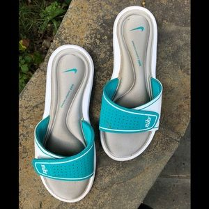 Nike Teal & Silver Padded Slides